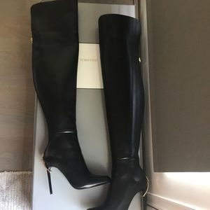 Tom Ford black thigh-high leather boots, 36.5